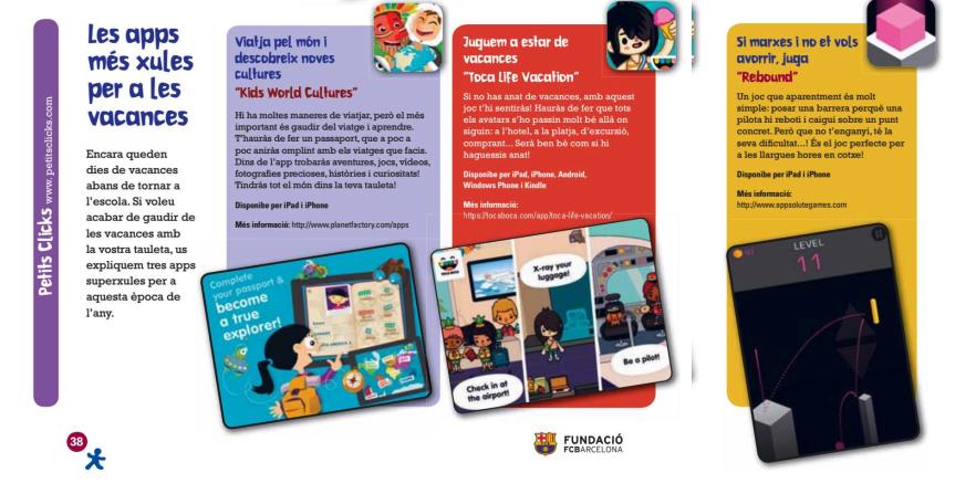 Barçakids Revista apps per a les vacances